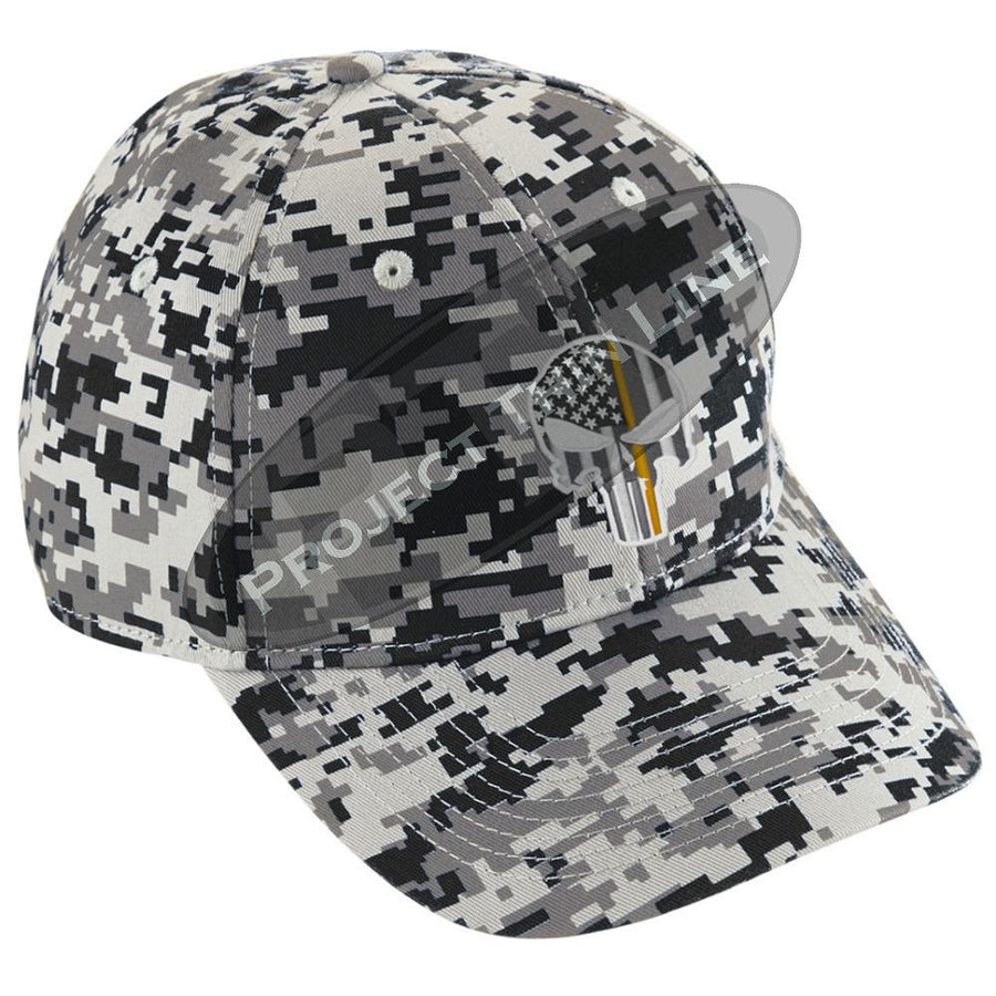 Embroidered Thin ORANGE Line Skull Digital Camo Hat