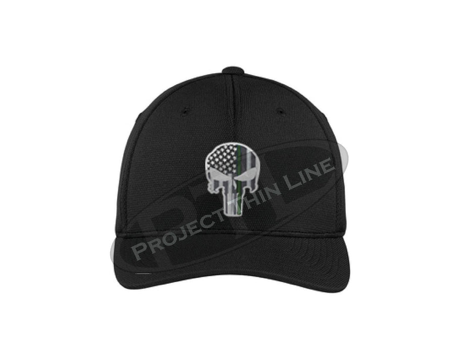 BLACK Embroidered Thin Green Line Skull Flex Fit Hat