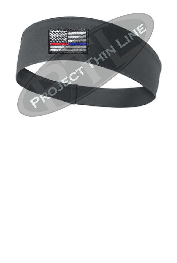 BLACK Thin Blue / Red Line American Flag Moisture Wicking Competitor Headband