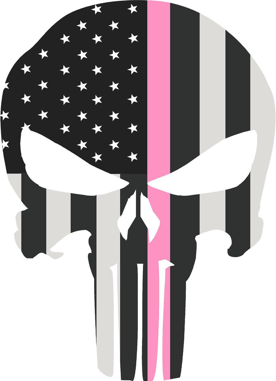"5"" Skull Punisher BW Thin PINK Line Shape Sticker Decal"