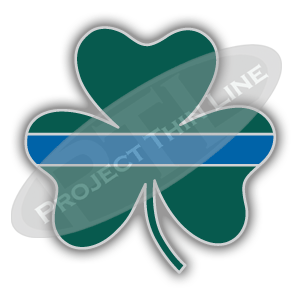 Green Shamrock with Thin Blue Line shaped Lapel Pin