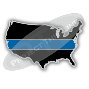 United States USA Shape Black with Thin Blue Line Cloisonne (hard enamel) Lapel Tie Tack Pin