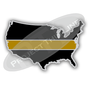 United States Shaped Lapel Pin Filled with Black and a Thin GOLD Line