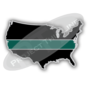 United States Shape Black with Thin GREEN Line Cloisonne (hard enamel) Lapel Tie Tack Pin