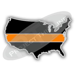 United States Shape Black with Thin ORANGE Line Cloisonne (hard enamel) Lapel Tie Tack Pin