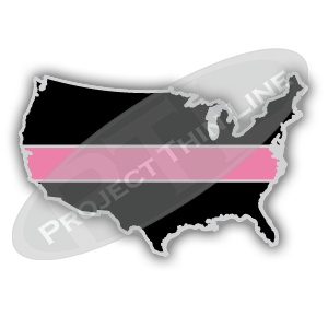 United States Shape Black with Thin PINK Line Cloisonne (hard enamel) Lapel Tie Tack Pin