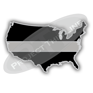 United States Shape Black with Thin SILVER Line Cloisonne (hard enamel) Lapel Tie Tack Pin