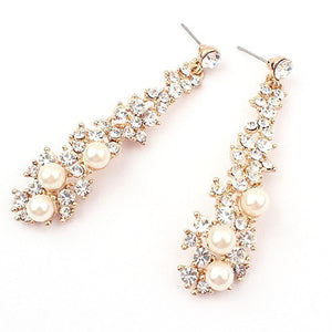 Long Crystal & Pearl Drop Earrings - Bliss Ever After