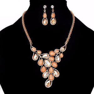 Crystal & Gemstone Statement Necklace & Earring set - Bliss Ever After