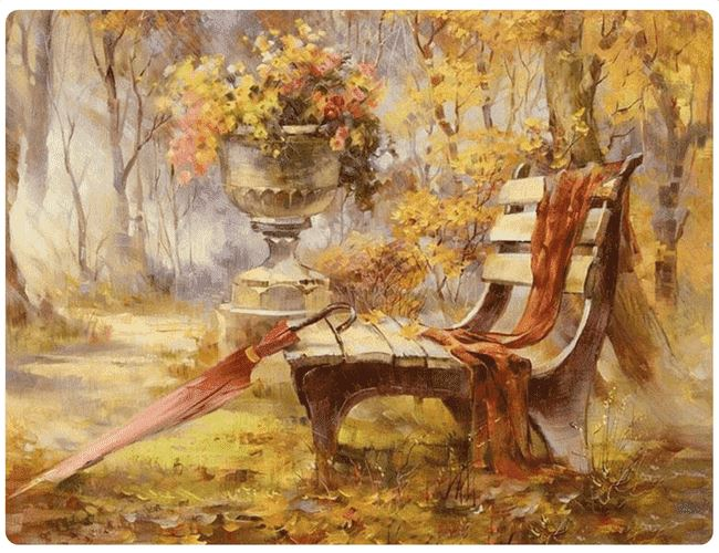 Lonely Bench In Autumn - LOVIELO