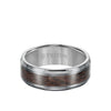 8MM Tungsten Carbide Ring - Wood Center and Bevel Edge
