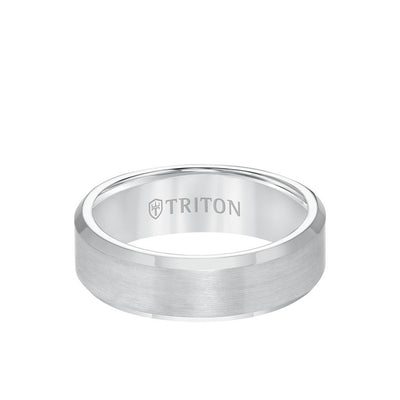 7MM Tungsten Carbide Ring - Satin Finish and Bevel Edge