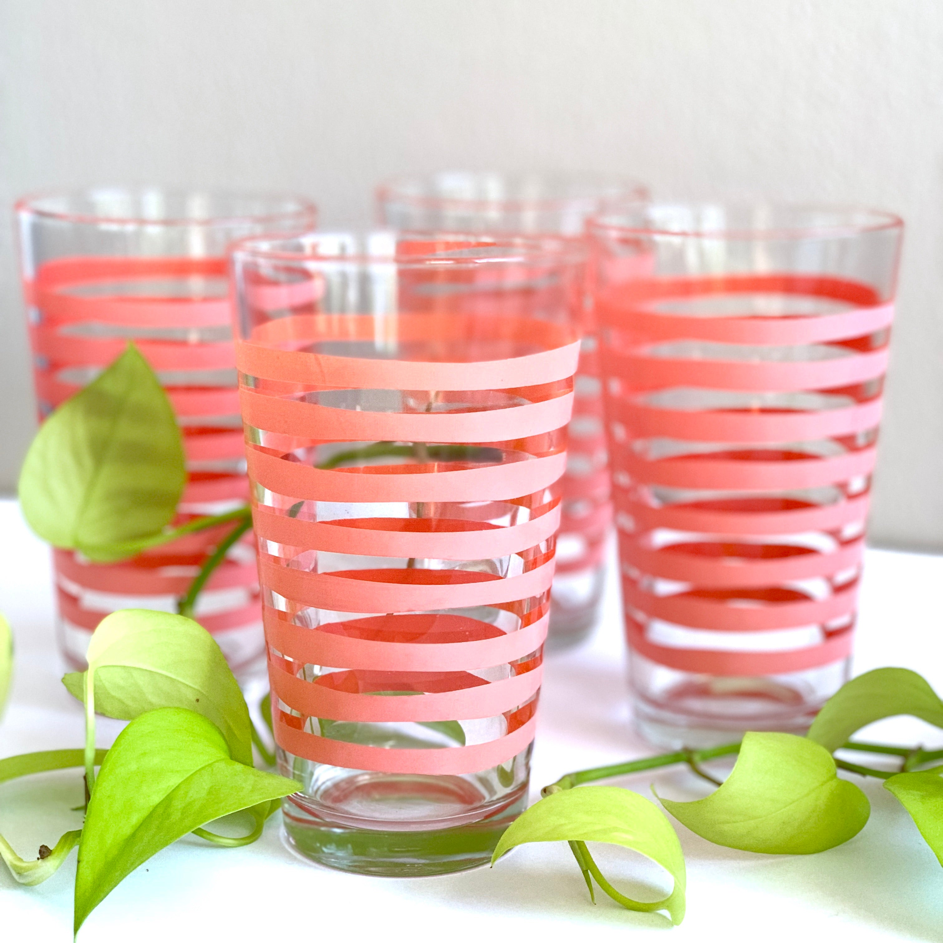 4 Striped Cocktail Tumblers