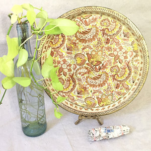 Yellow Metal Floral Tray