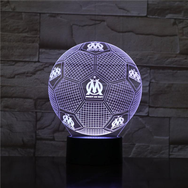 Olympique de Marseille Ballon Lampe optique LED illusion 3D ⚽ - Ma Deco Maison