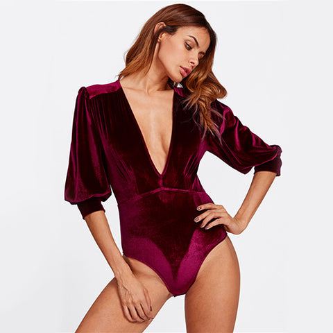 Bishop Sleeve Sexy Velvet Bodysuit