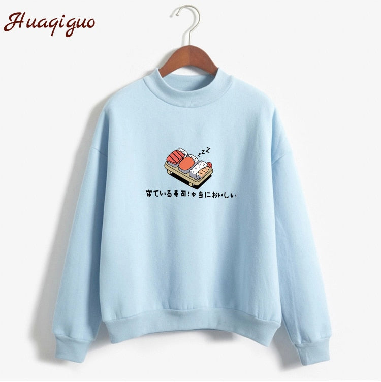 Women Hoodies 2017 Autumn Winter Sweatshirts Cartoon Kawaii Sushi Japanese Print Fleece Loose Moletom Feminino Harajuku Pullover - ShopTug