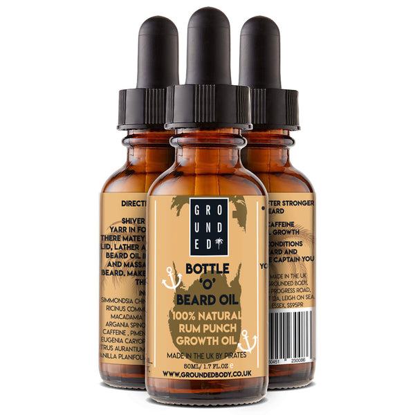 New Grounded Bottle 'O' Beard Growth & Condition Oil- 100% Natural Rum Punch Scent