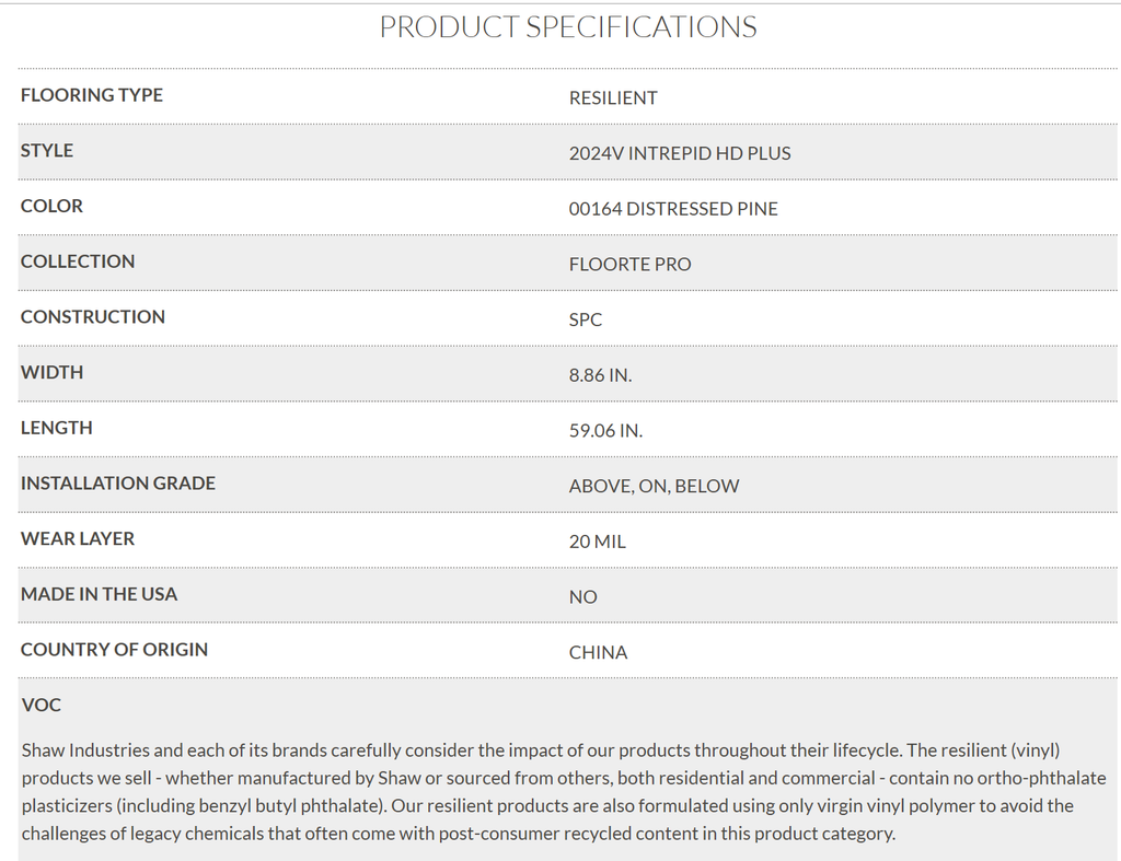 Shaw Intrepid Product Specifications