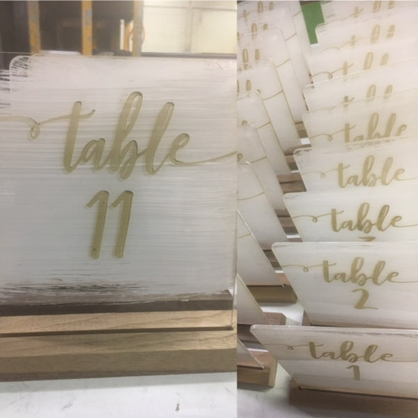 *RENTAL* Table Numbers, Acrylic with stand