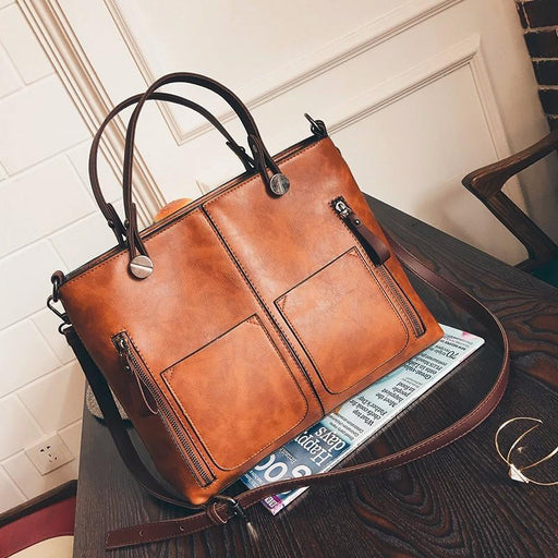 Large Vintage Style Leather Shoulder Bag-Boots N Bags Heaven