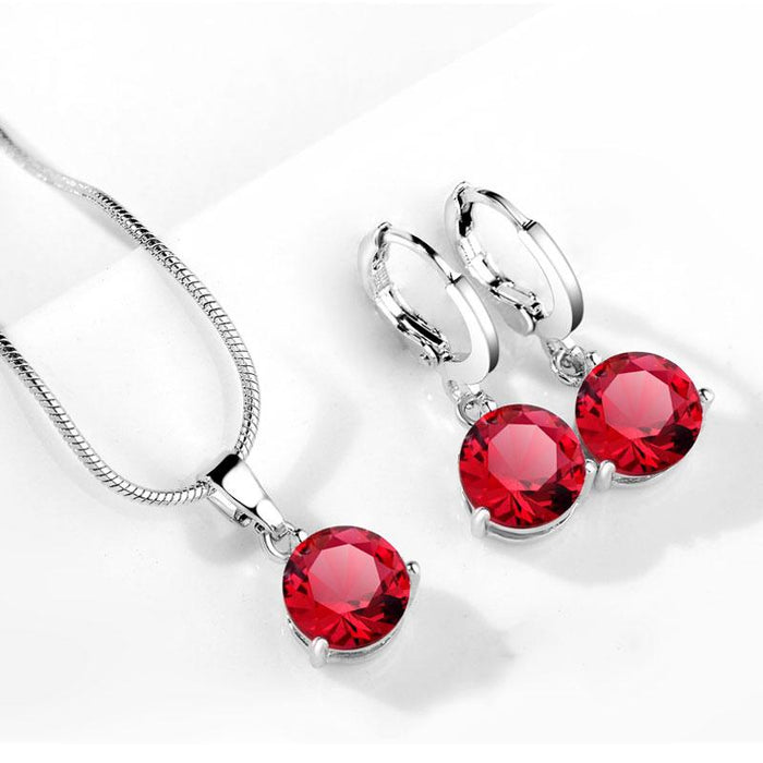 Elegant Round Cubic Zirconia Crystal Hypoallergenic Necklace and Earrings-Boots N Bags Heaven