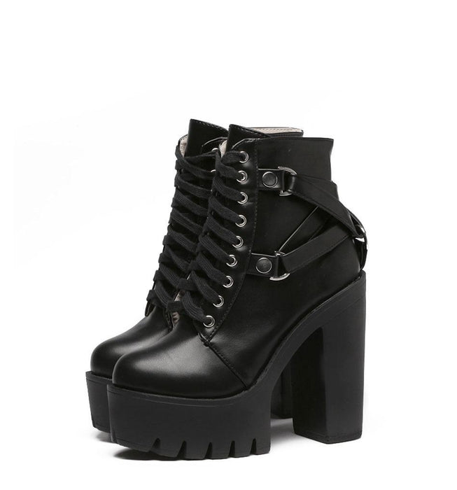 Lace Up Soft Leather Ankle Boots-Boots N Bags Heaven