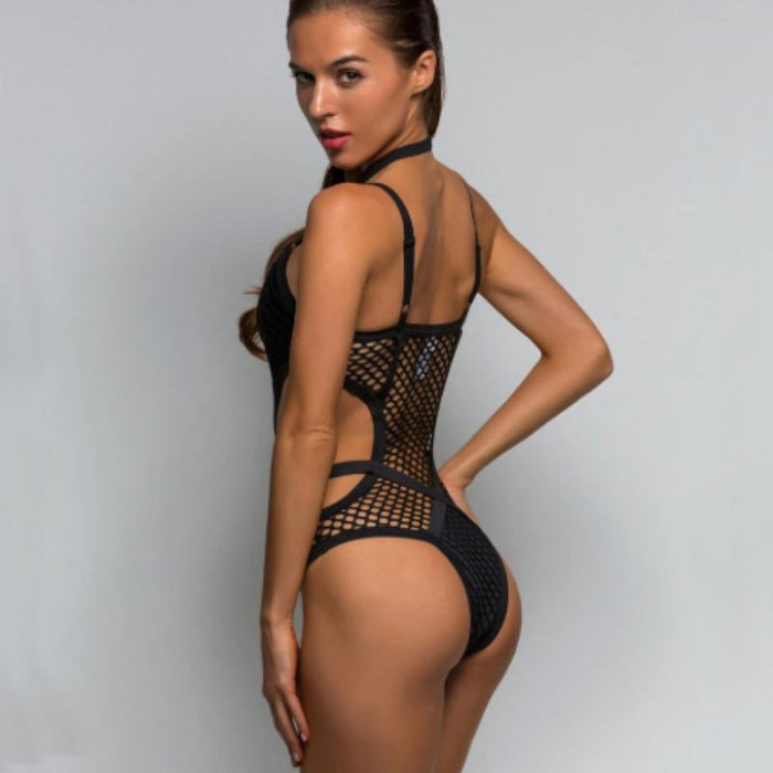 Allure Hot and Sexy Fishnet Halter Swimsuit-Boots N Bags Heaven