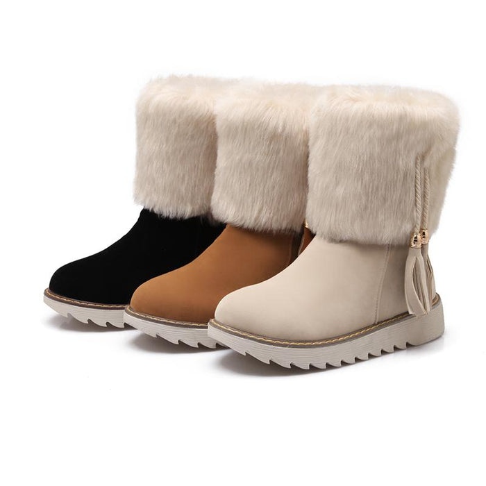 Flat Heel Fur Plush Winter Snow Boots-Boots N Bags Heaven
