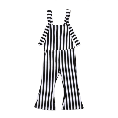 Striped Bell Bottoms Romper- Black