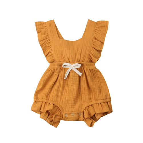 Ruth Ruffle Romper- Mustard Orange