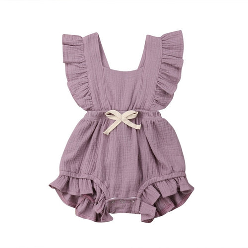 Ruth Ruffle Romper- Purple