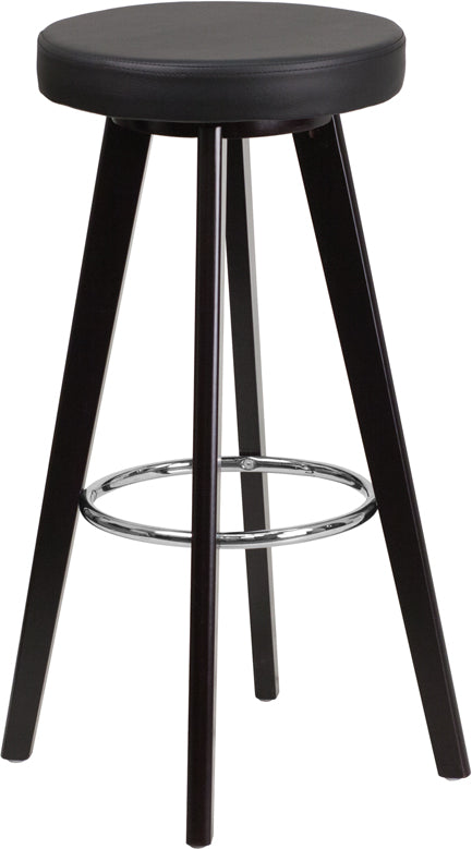 Trenton Series 29'' High Contemporary Vinyl Barstool with Cappuccino Wood Frame-Bar Stool-Flash Furniture-Wall2Wall Furnishings