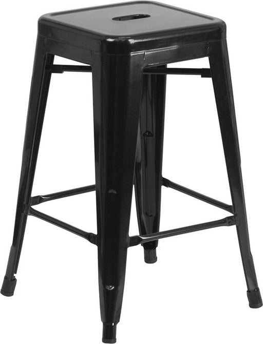 24'' High Backless Metal Indoor-Outdoor Counter Height Stool with Square Seat-Indoor/Outdoor Bar Stool-Flash Furniture-Wall2Wall Furnishings