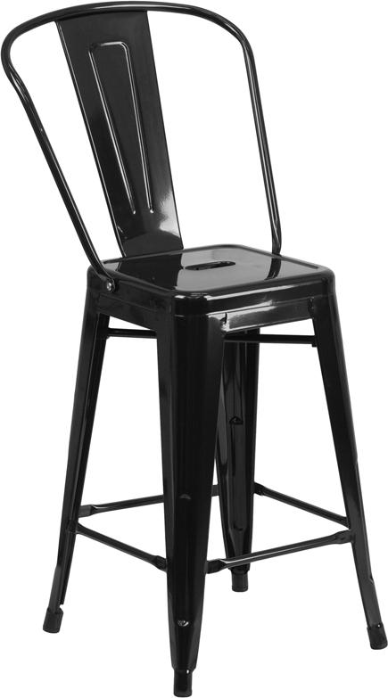 24'' High Metal Indoor-Outdoor Counter Height Stool with Back-Indoor/Outdoor Bar Stool-Flash Furniture-Wall2Wall Furnishings