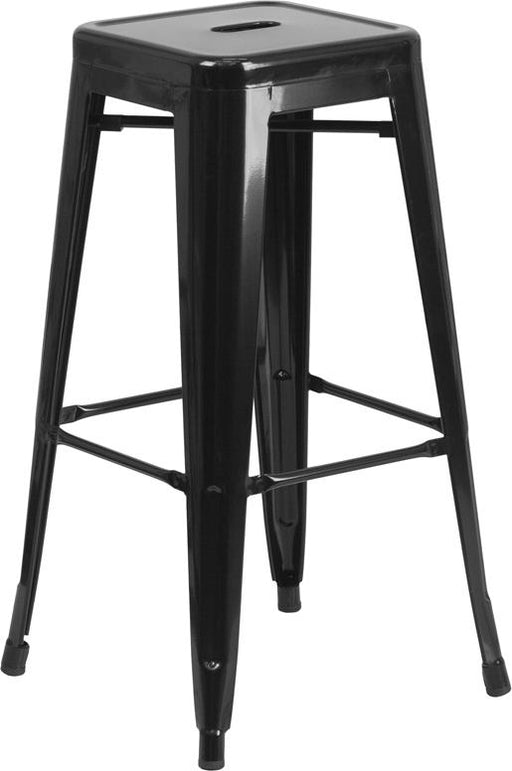30'' High Backless Metal Indoor-Outdoor Barstool with Square Seat-Indoor/Outdoor Bar Stool-Flash Furniture-Wall2Wall Furnishings