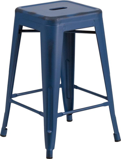 24'' High Backless Distressed Metal Indoor-Outdoor Counter Height Stool-Indoor/Outdoor Bar Stool-Flash Furniture-Wall2Wall Furnishings