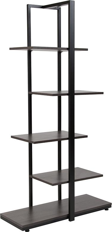 Homewood Collection 5-Tier Decorative Shelf with Metal Frame-Bookcase-Flash Furniture-Wall2Wall Furnishings