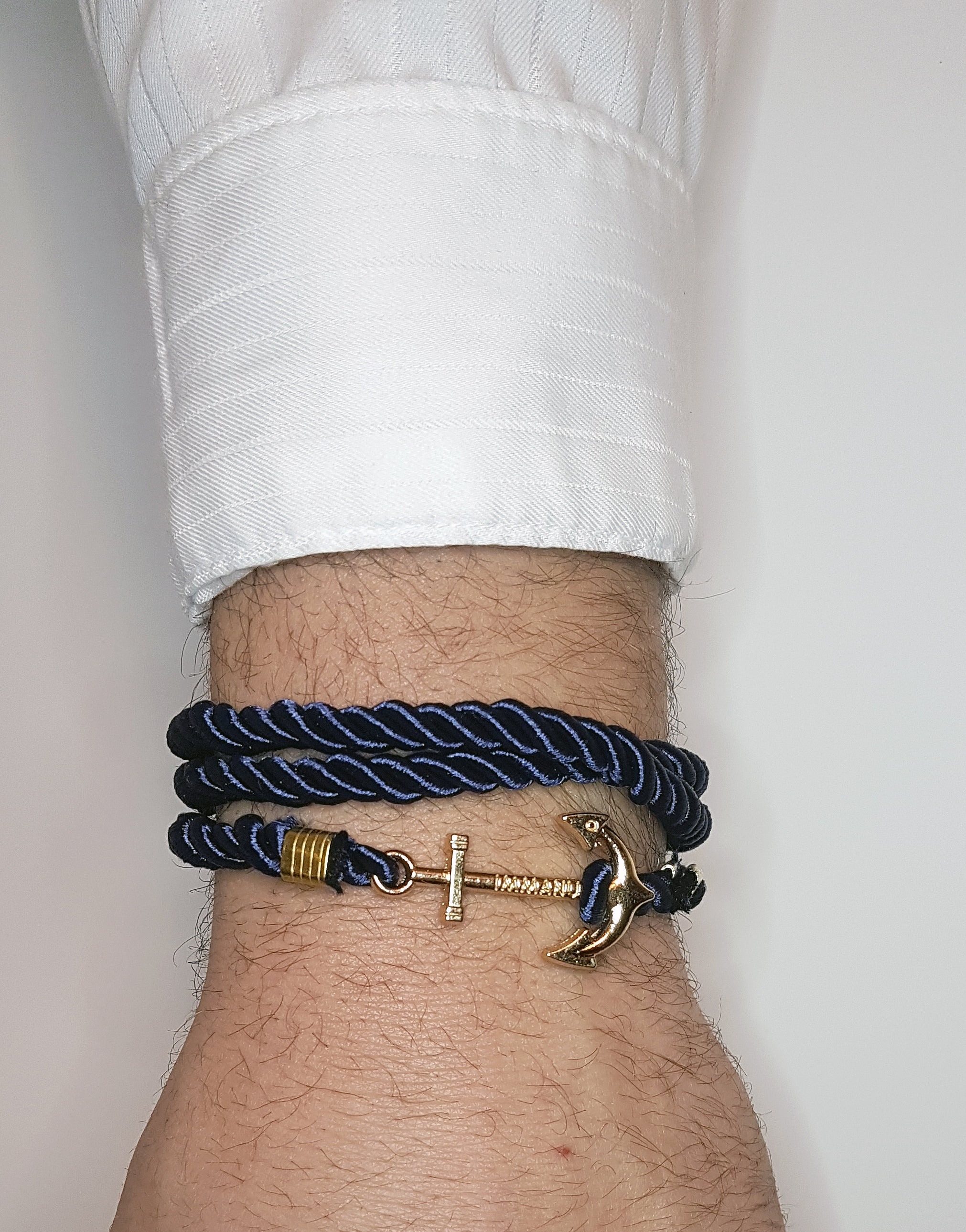 Mens navy wrap around bracelet with gold anchor clip| The Perfect Gentleman