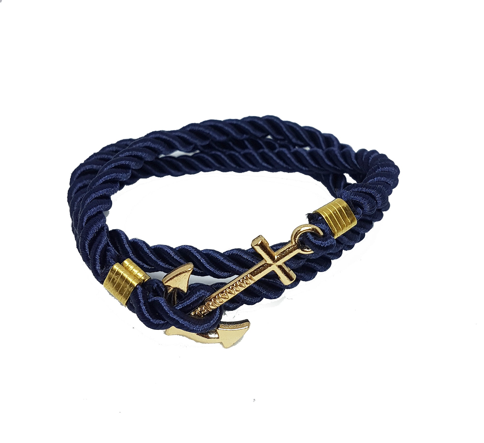 Mens navy wrap around bracelet with gold anchor clip | The Perfect Gentleman
