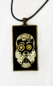 Steampunk Face Necklace with Leather Lace