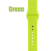 Silicone Apple Watch Band: Colors - Black, White, Green, Blue, Hot Pink, Red, Purple, Midnight Blue, Antique White