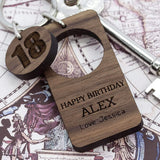 Happy Birthday Walnut Keyring,