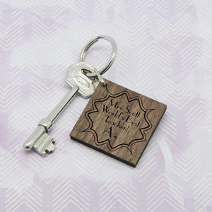 Personalised A+ Teacher Square Keyring,