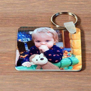 Personalised Double Sided Square Photo Plastic Keyring,