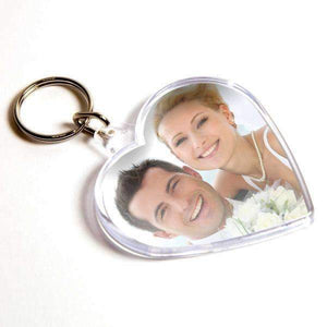 Personalised Heart Plastic Photo Keyring,
