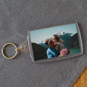 Personalised Large Rectangular Plastic Photo Keyring