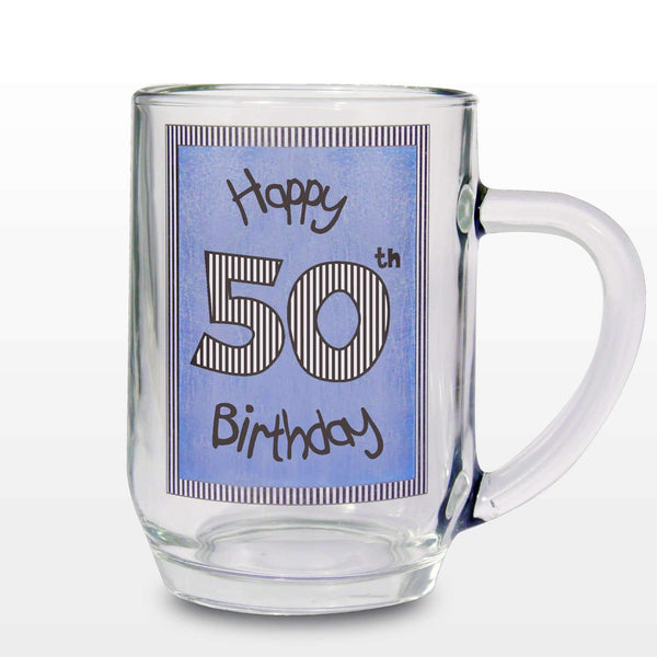 Blue 50th Happy Birthday Tankard