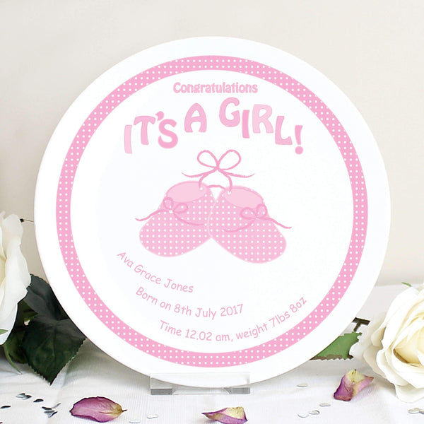 Personalised Bootee It's a Girl Plate