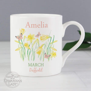Personalised Country Diary 'March Flower Of The Month' Balmoral Mug